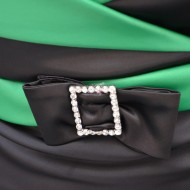 Rochie satinata, de culoare verde-negru