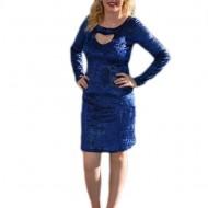 Rochie sofisticata, albastra, lucioasa, maneca lunga