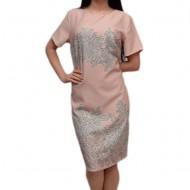 Rochie tinereasca cu flori gri pe fond roz pudra, model scurt