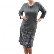 Rochie tinereasca cu maneci lungi, de culoare gri cu imprimeu