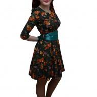 Rochie tinereasca, nuanta de multicolor, betelie lata turcoaz