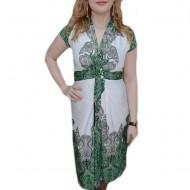 Rochie tinereasca, nuanta verde, decolteu in V, lungime medie