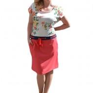 Rochie tip costum, de culoare corai, cu imprimeu in partea de sus
