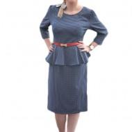 Rochie tip costum masura mare cu imprimeu pepit bleumarin-alb