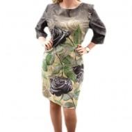 Rochie trendy de birou, masura mare, cu design floral nuanta gri