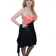 Rochie trendy de ocazie, realizata din tul negru si saten corai