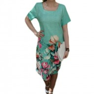 Rochie turcoaz cu croi simplu si imprimeu floral, masura mare