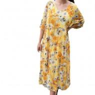 Rochie vaporoasa Nadina de zi,imprimeu floral,nuanta de galben