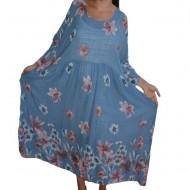 Rochie vaporoasa Penelope cu imprimeu floral,nuanta de albastru