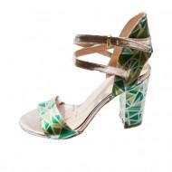 Sanda fashion de culoare verde deschis, cu toc inalt, stabil