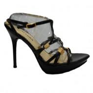 Sanda fashion, eleganta, curele subtiri negre cu insertii aurii