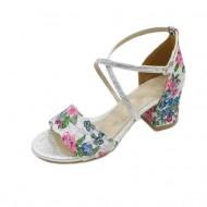 Sanda tinereasca cu design rafinat, floral, in nuante multicolore