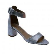 Sandale comode cu toc argintii