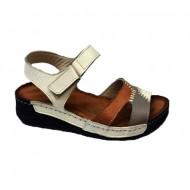 Sandale cu talpa joasa bej-maro