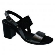 Sandale rafinate cu toc mediu negru-argintiu