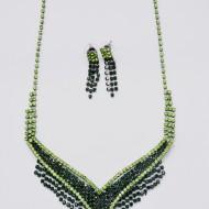 Set elegant de bijuteri,colier si cercei,nuanta de verde,negru si auriu