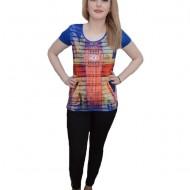 Tricou deosebit cu imprimeu tematic, colorat, pe fond albastru