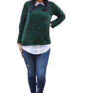 Bluza Ava casual-buusiness cu tricot din catifea ,nuanta de verde