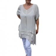 Bluza casual ,asimetrica, cu design de buzunare nuanta de bej