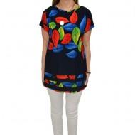 Bluza casual, cu imprimeu de frunze multicolor, pe fundal bleumarin