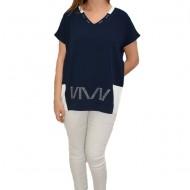 Bluza casual, cu imprimeu strasuri la gat si partea de jos, pe fundal bleumarin