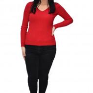 Bluza casual Kimmy,model simplu si decolteu in V,nuanta de rosu