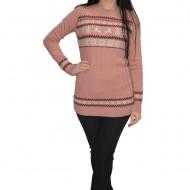 Bluza casual tricotata cu motive de Craciun,nuanta plamaniu