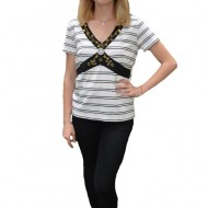 Bluza casual Zendaya ,design cu dungi,nuanta de alb