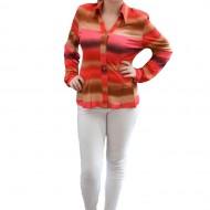 Bluza cazual, tip camasa, marimi mari, combinatie de maro cu rosu