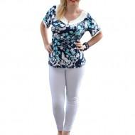 Bluza cu maneca scurta, de culoare bleumarin cu design turcoaz