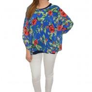 Bluza dama, din voal, in nuanta de albastru, cu design floral