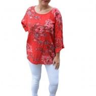 Bluza dama Eda cu imprimeu floral,din bumbac,nuanta de rosu