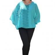 Bluza dama eleganta ,model cu flori din strasuri,nuanta de turcoaz