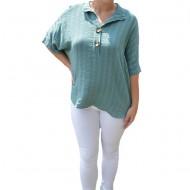 Bluza dama lejera Adeline accesorizata cu nasture ,nuanta de verde