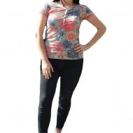 Bluza de marime universala, multicolora, cu imprimeu mare