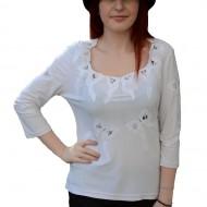 Bluza de ocazie, de culoare alba, cu design de fundite de dantela