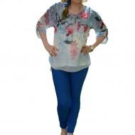 Bluza de vara masura mare, culoare bleumarin cu flori roz