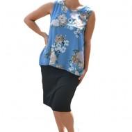 Bluza de vara tip maieu,Florice din voal,imprimeu floral ,nuanta de albastru