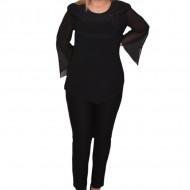 Bluza eleganta Ima cu insertii de strarsuri,negru