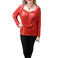 Bluza eleganta, masura mare, in nuanta de rosu, strasuri fine