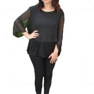 Bluza eleganta Silvia,aplicatii de strasuri pe voal,nuanat de negru