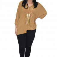 Bluza eleganta Uma cu insertii de strasuri ,nuanta de mustar