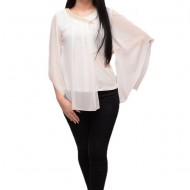 Bluza fashion cu voal si aplicatii de voal simplu, asimetric, alb