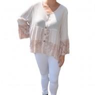 Bluza lejera Carina cu insertii de dantela ,nuanta de pudra