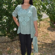 Bluza lejera, comoda de vara, in fata brodata, culoare verde