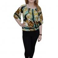 Bluza lunga de vara cu manseta lata la baza si design multicolor