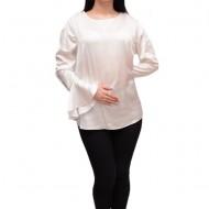 Bluza moderna cu croi asimetric si maneca lunga, nuanta alba