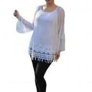 Bluza moderna Kara cu insertii de broderie si dantela ,nuanta de alb