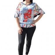 Bluza rafinata cu imprimeu 3D, maneca scurta si croi modern