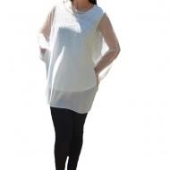 Bluza rafinata cu strasuri model cu voal detasabil,nuanta de alb